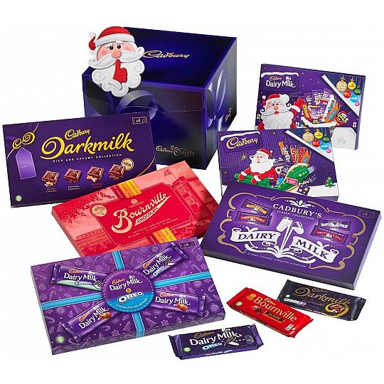 Cadbury Christmas Chocolate Selection Box Hamper, Five Cadbury chocolate selection box in a hamper for Christmas.
