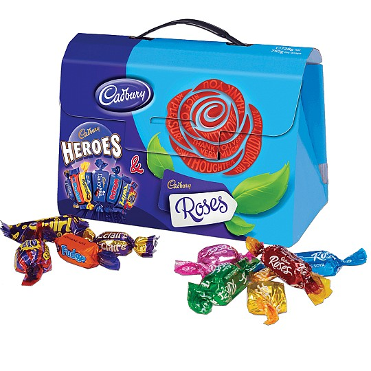 A box of Cadbury Heroes & Cadbury Roses, presented in a handbag style box with a handle.