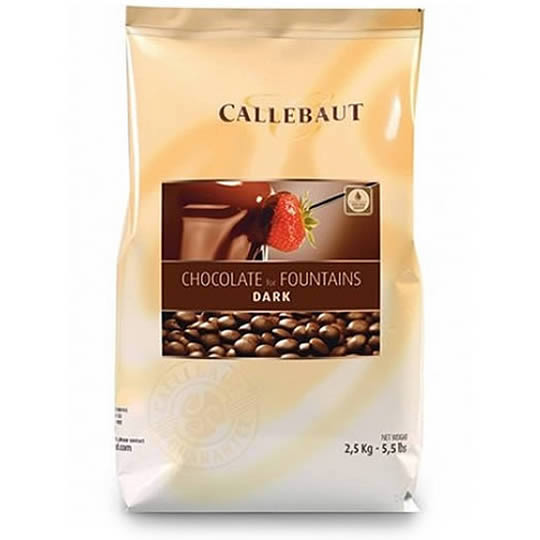 A 2.5kg bag of dark chocolate for fountains by Callebaut.
