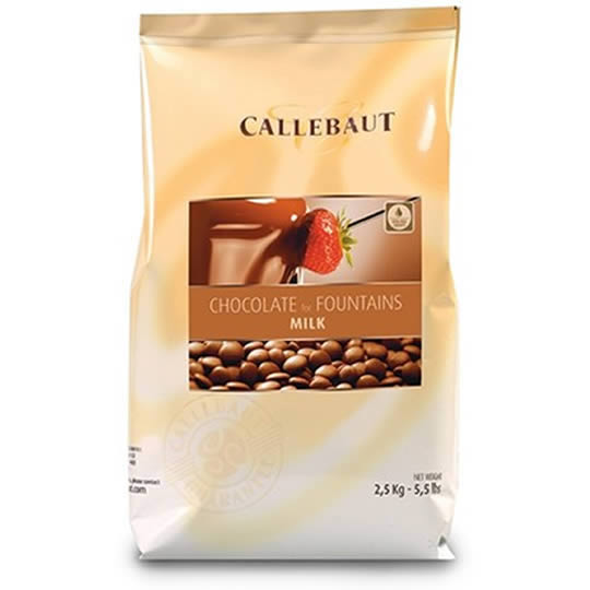 Callebaut Chocolate for Fountains Milk Chocolate 2.5kg, premade milk chocolate chips for chocolate fountains and fondues.
