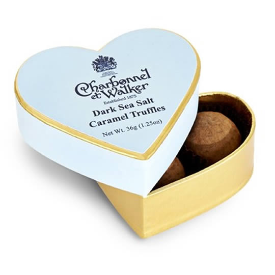 Charbonnel et Walker Dark Sea Salt Caramel Truffles Mini Heart Shaped Chocolate Box 36g, a small blue and gold small heart shaped chocolate box with chocolate truffles inside.