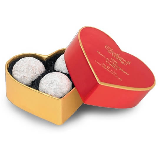 Charbonnel et Walker Champagne Chocolate Truffles Red Heart Box