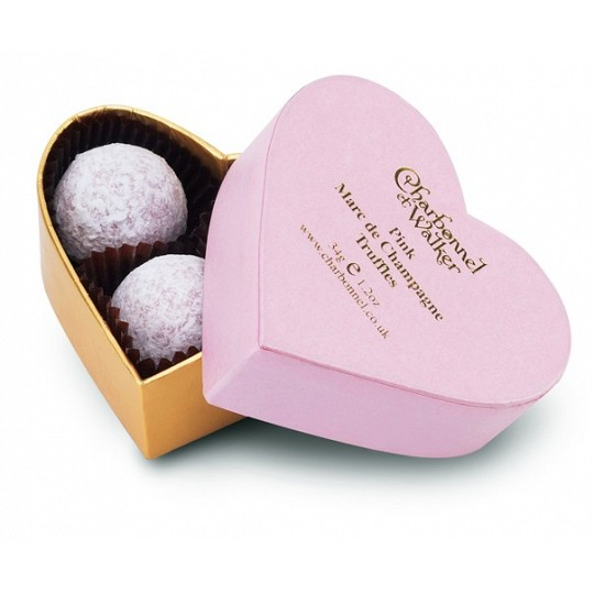 Charbonnel et Walker Pink Heart Chocolate Truffles Box