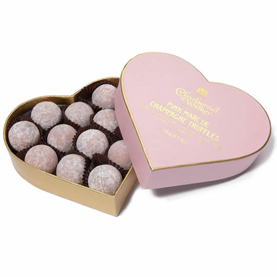 Charbonnel et Walker Pink Marc de Champagne Truffles Heart Shaped Chocolate Box 200g