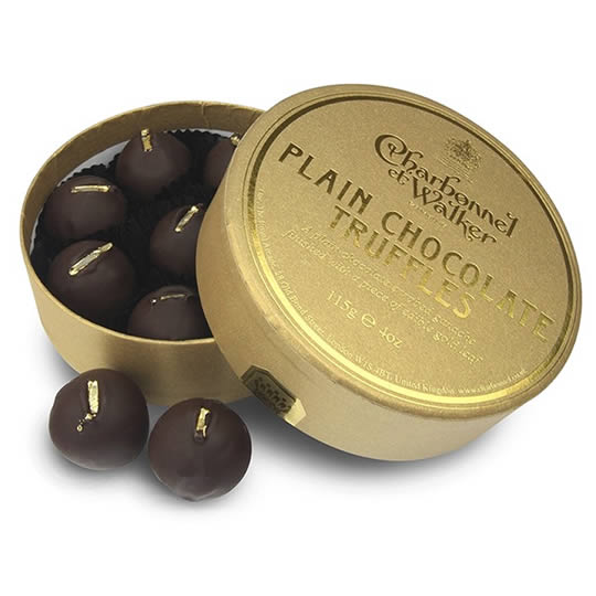 Charbonnel et Walker Plain Chocolate Truffles 115g, a round box of dark chocolate truffles finished with  edible gold leaf.
