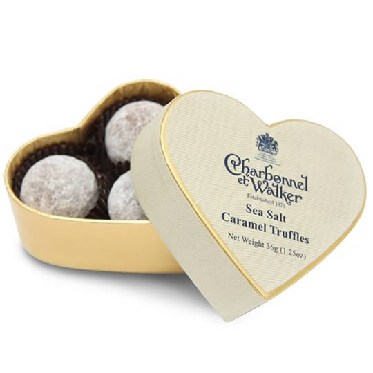 Charbonnel et Walker Sea Salt Caramel Chocolate Truffles Mini Heart Shaped Chocolate Box 36g