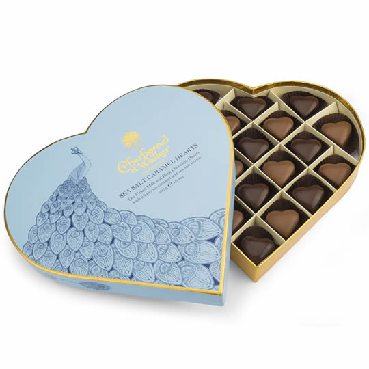 Charbonnel et Walker Sea Salt Caramel Hearts Heart Shaped Chocolate Box 295g