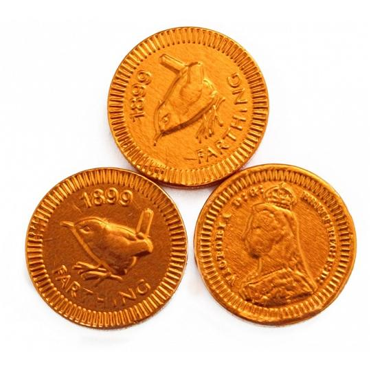 Chocolate Trading Co. - 22mm Copper Farthing, Chocolate Coins