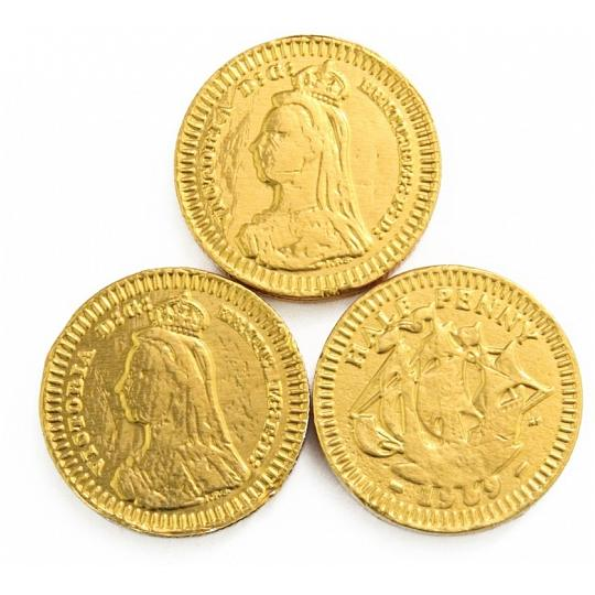 28mm Gold Halfpenny Chocolate Coins