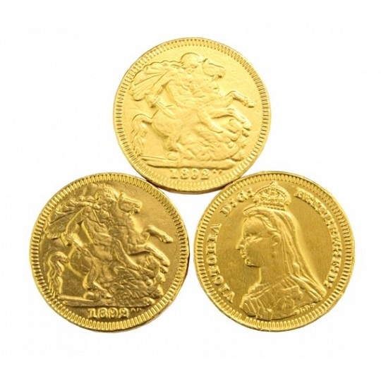 Gold Chocolate Coins, 38mm Gold Sovereign Chocolate Coins
