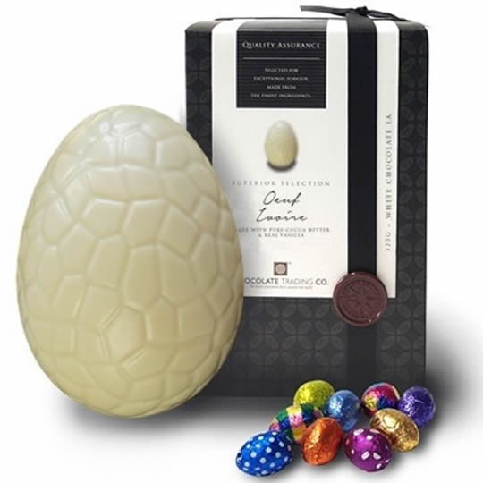 Chocolate Trading Co. White Chocolate Easter Egg, Oeuf Ivoire
