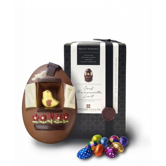 Chocolate Trading Co. Oeuf Maisonnette Lait Small Milk Chocolate Bird House Easter Egg