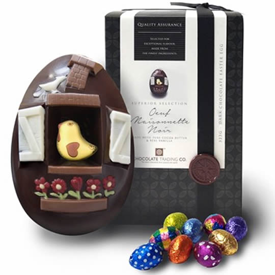 Chocolate Trading Co. Oeuf Maisonnette Noir Large Dark Chocolate Bird House Easter Egg