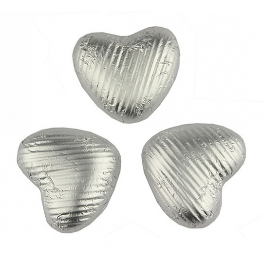 Chocolate Trading Co. Silver, foil wrapped, milk chocolate hearts