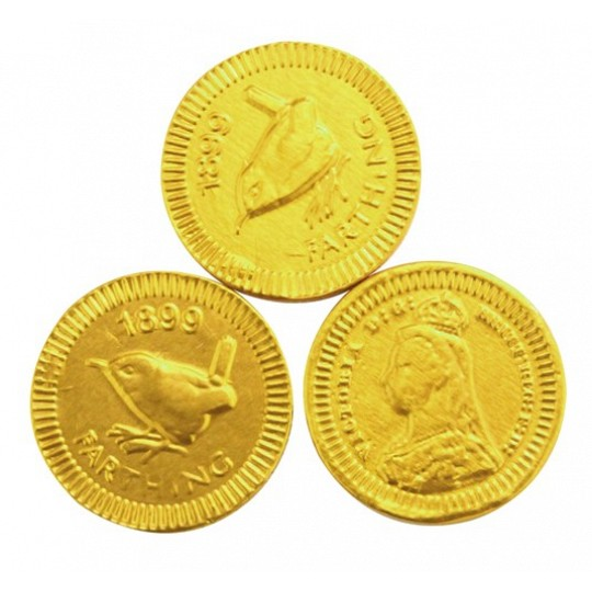 Chocolate Trading Co. - 22mm Gold Farthing, Chocolate Coins