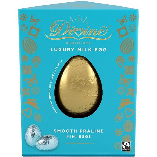Divine Luxury Milk Chocolate Easter Egg with Milk Chocolate Praline Mini Eggs