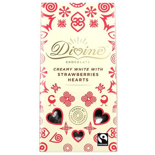 Divine White Chocolate Hearts with Strawberry 80g