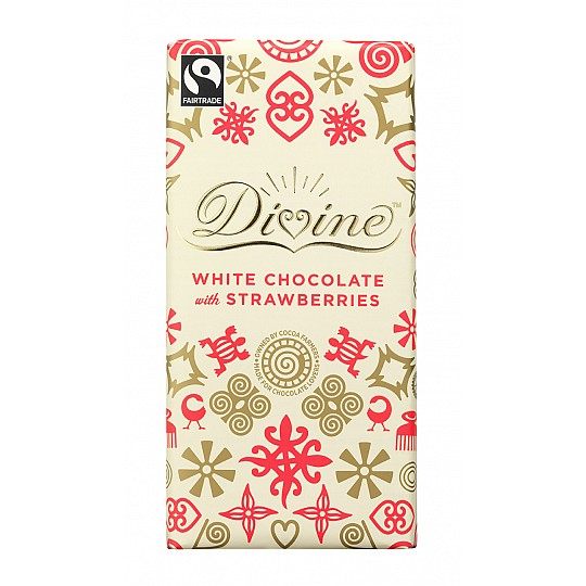 Divine White Chocolate with Strawberries Chocolate Bar 100g