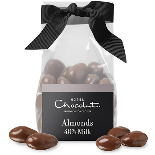 Hotel Chocolat Milk Chocolate Covered Almonds, milk chocolate covered almonds in a ribbon tied bag.