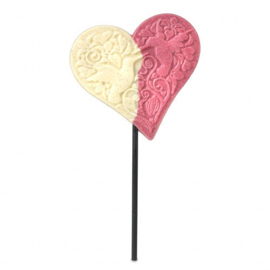 Hotel Chocolat Raspberry & Vanilla Chocolate Heart Lolly