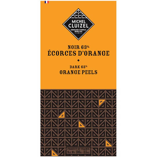 Michel Cluizel Orange Peel 60% Cocoa Dark Chocolate Bar