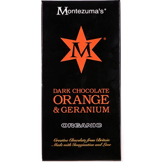 Montezuma's Orange & Geranium Dark Chocolate Bar
