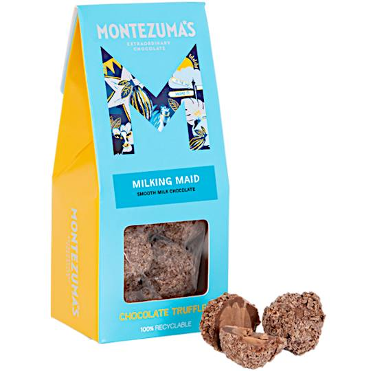 Montezuma's Milking Maid Milk Chocolate Truffles, simple yet creamy milk chocolate truffles in a ribbon tied bag.