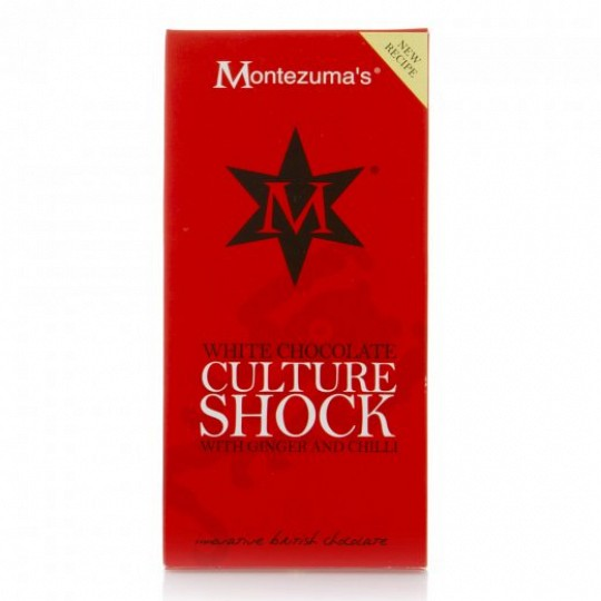 Montezuma's White Chocolate Culture Shock with Ginger and Chilli Chocolate Bar 100g
