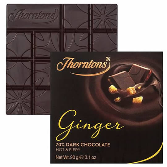 Thorntons Ginger 70% Dark Chocolate Block