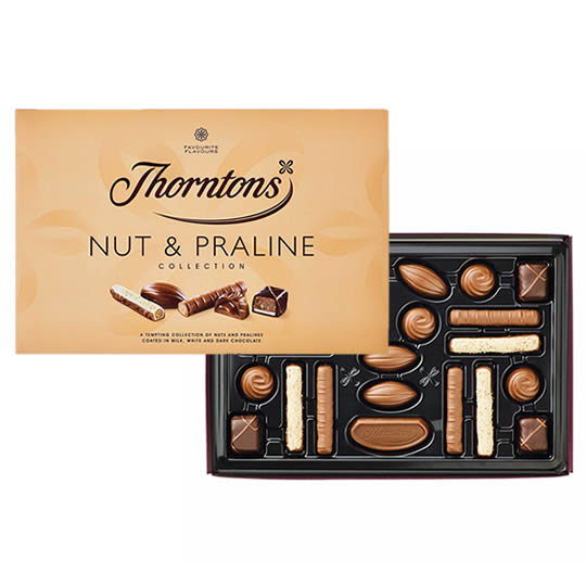 Thorntons Nut & Praline Collection Chocolate Box, nutty flavours and crunchy pralines chocolates.
