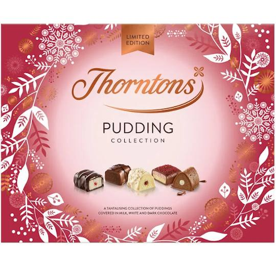 Thorntons Pudding Collection Chocolate Box, a box of chocolates from Thorntons, inspired by pudding flavours.