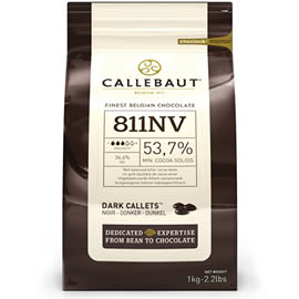 Callebaut 811NV 53.7% Cocoa Dark Chocolate Couverture Chips 1kg