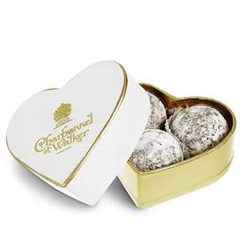 Charbonnel et Walker Milk Marc de Champagne Chocolate Truffles Mini White Heart Shaped Chocolate Box 34g