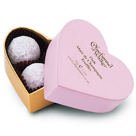 Charbonnel et Walker Pink Marc de Champagne Truffles Mini Heart Shaped Chocolate Box 34g