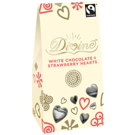 Divine White Chocolate & Strawberry Hearts 100g