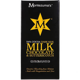 Montezuma's 54% Cocoa Dark Side Milk Chocolate & Butterscotch Chocolate Bar 100g