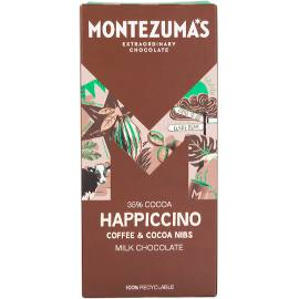 Montezuma's Happiccino 35% Cocoa Milk Chocolate Bar with Coffee & Cocoa Nibs 90g