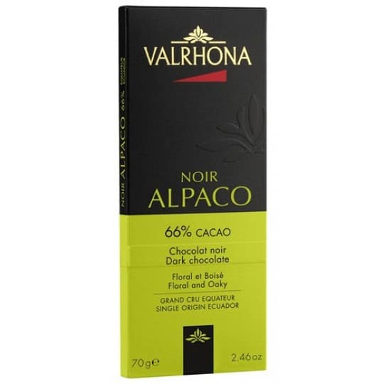Valrhona Noir Alpaco 66% Cacao Dark Chocolate Bar 70g