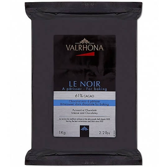 Valrhona Le Noir 61% Cocao Dark Chocolate for Baking Chocolate Block 1kg